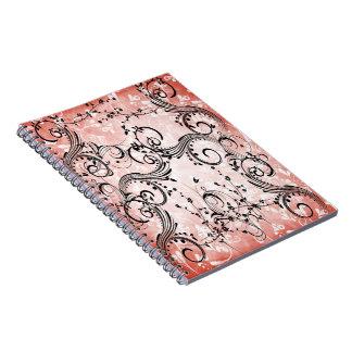 Cuaderno espiral de las vides de la flor de Swirly