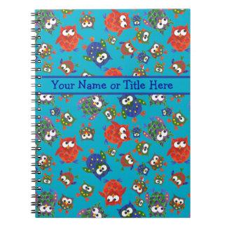 Cuaderno espiral de los búhos lindos, rojo, azul,