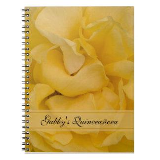Cuaderno espiral de Quinceañera del rosa amarillo