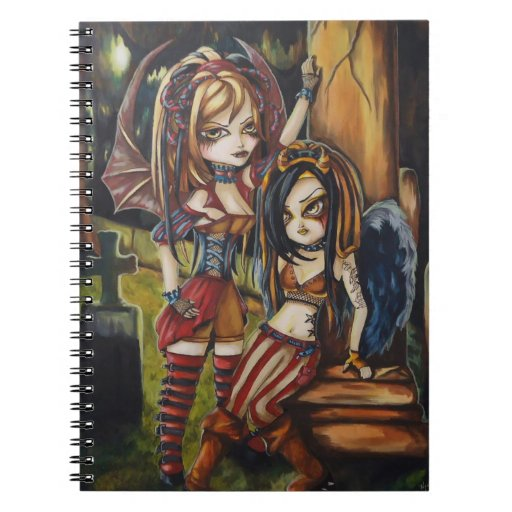 Cuaderno espiral del ángel gótico del vampiro de l