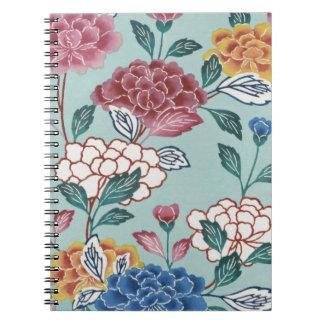 Cuaderno espiral del arte asiático del vintage de