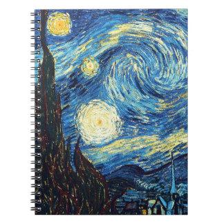 Cuaderno espiral del arte de la noche estrellada