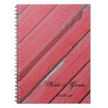 Cuaderno espiral del boda de madera rojo del grane