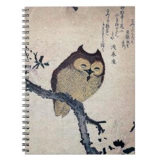 Cuaderno espiral del búho del vintage