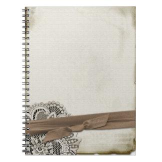 Cuaderno espiral del cordón del vintage