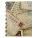 cuaderno espiral del diario de la postal del vinta