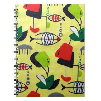 Cuaderno espiral del diseño atómico moderno de los