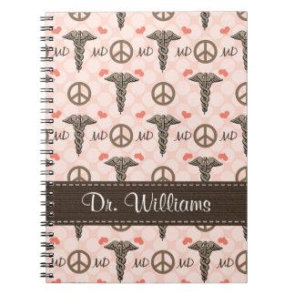 Cuaderno espiral del doctor MD del caduceo del amo