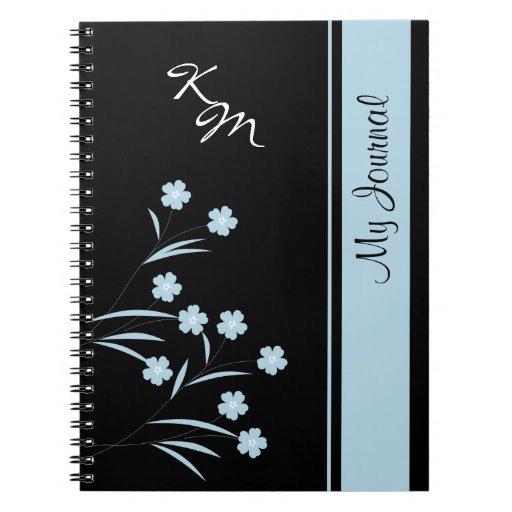 Cuaderno espiral del estampado de plores azul del