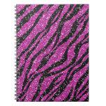 Cuaderno espiral del estampado de zebra negro púrp