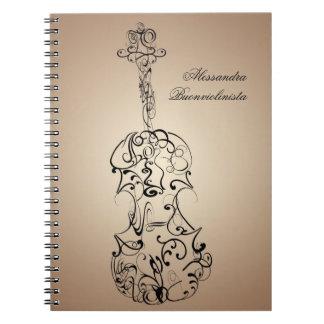 Cuaderno espiral del garrapatos del violín