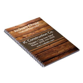 Cuaderno espiral del grano de madera de la