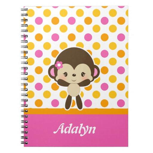Cuaderno espiral del mono del dulzor del safari