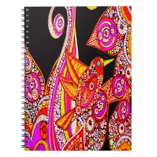 Cuaderno espiral del negro colorido de la ave del