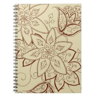 Cuaderno espiral del tatuaje del tulipán (sand)