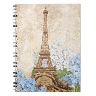 Cuaderno espiral del vintage del Hydrangea del azu