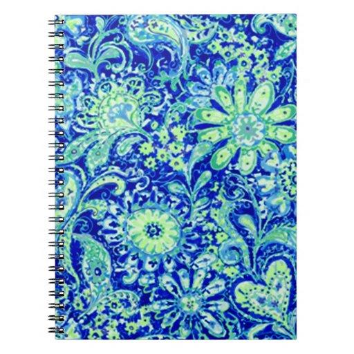 Cuaderno espiral floral azul