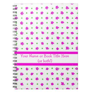Cuaderno espiral floral de las minúsculas rosadas
