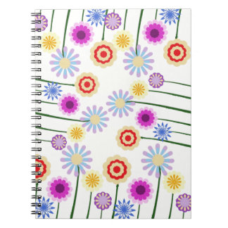 Cuaderno espiral, flores digitales coloridas del a