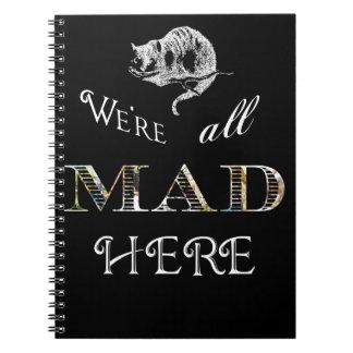 Cuaderno espiral negro enojado de Alicia del gato