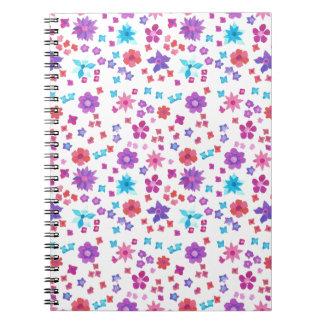Cuaderno espiral o diario del flower power bonito