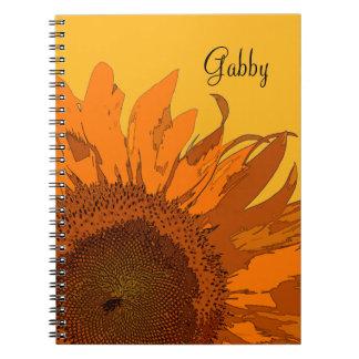 Cuaderno espiral personalizado del girasol anaranj