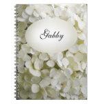 Cuaderno espiral personalizado del Hydrangea blanc