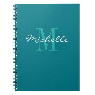 Cuaderno espiral personalizado del monograma de la