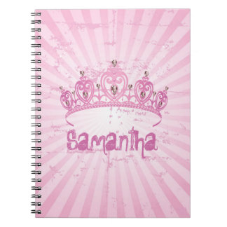Cuaderno espiral rosado de princesa Crown Tiara Je