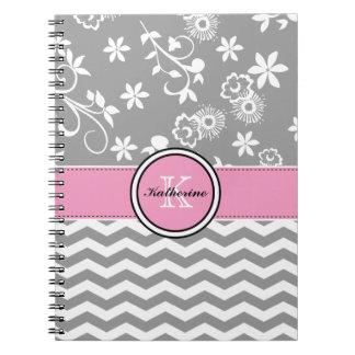 Cuaderno espiral rosado floral gris de Chevron del