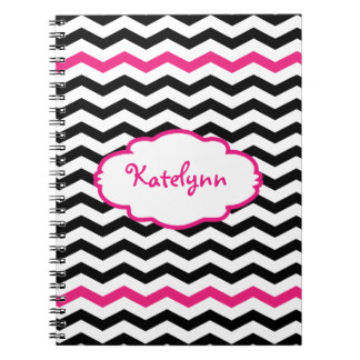 Cuaderno espiral rosado negro personalizado de