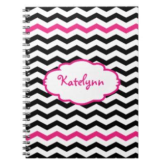 Cuaderno espiral rosado negro personalizado de Che