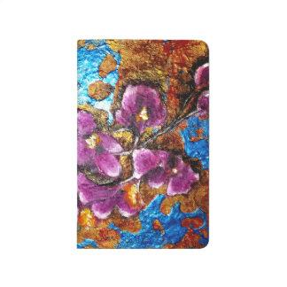 Cuaderno - extracto metálico rosado de la flor
