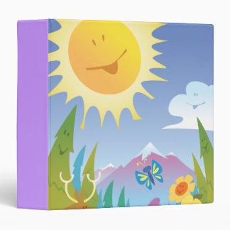 cuaderno feliz de la escena del sol y de la montañ