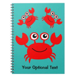 Cuaderno feliz del personalizado del cangrejo