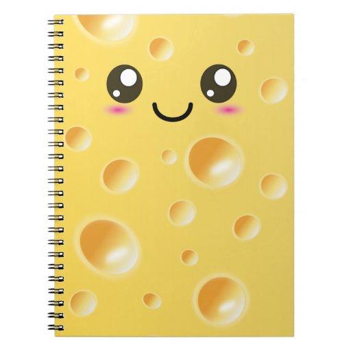 Cuaderno feliz lindo del queso de Kawaii