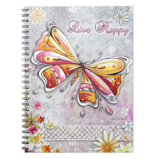 Cuaderno feliz vivo de la mariposa