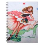 Cuaderno femenino de la tela del vintage