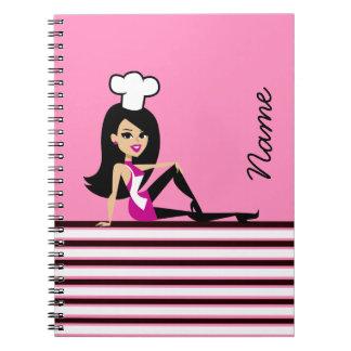 Cuaderno femenino del chica del cocinero