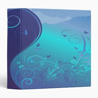 """cuaderno floral abstracto del azul del remolino carpeta 1 1/2"""""""