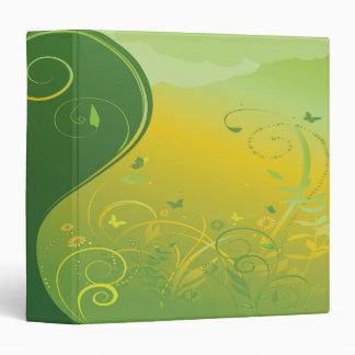"""cuaderno floral abstracto del verde del remolino carpeta 1 1/2"""""""