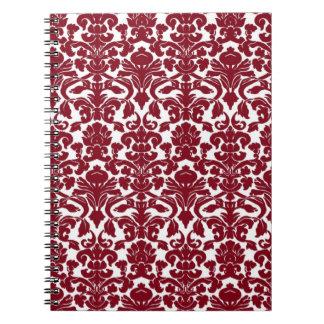 Cuaderno floral adornado del damasco del Firebrick