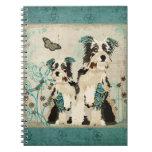 Cuaderno floral azul de los perros del vintage