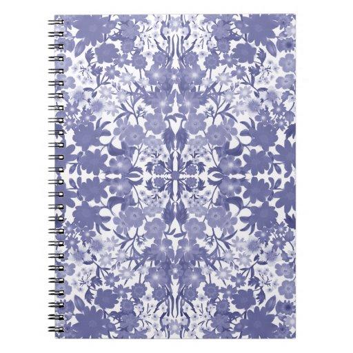 Cuaderno floral azul de Nouveau del arte