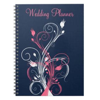 Cuaderno floral blanco rosado del planificador del