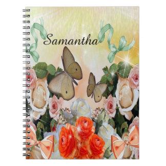 cuaderno floral conocido de encargo de la mariposa