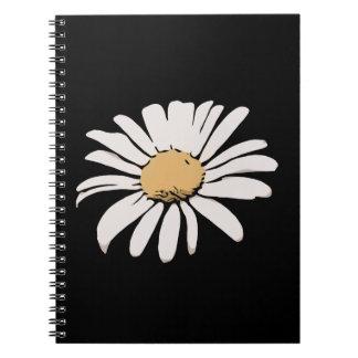 Cuaderno floral de la foto de la margarita negra