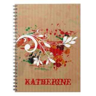 Cuaderno floral de la salpicadura del Grunge