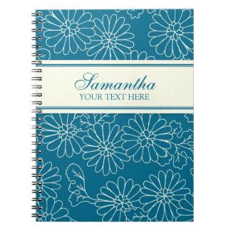 Cuaderno floral de la turquesa conocida de encargo