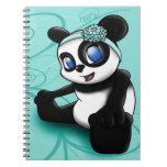Cuaderno floral de la turquesa de la panda